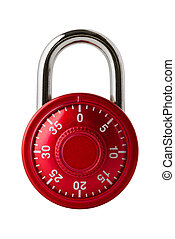 Red combination lock - Objects: red combination lock,...
