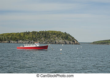 Red Commercial Fishing Boat at Bar Harbor Maine
