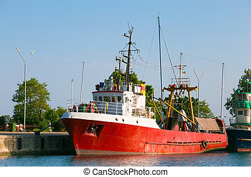 Red commercial fishing boat