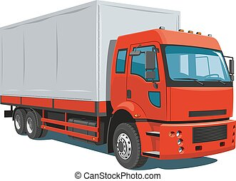 Red commercial truck