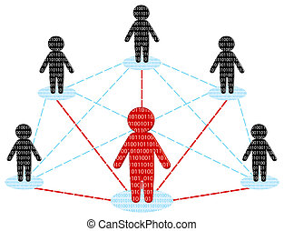 red, communication., equipo negocio, concept., vector,...