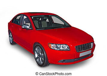 Red Compact Hybrid - Bright red four door compact hybrid car...