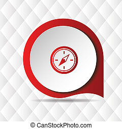 Red Compass Icon Geometric Background Vector Image