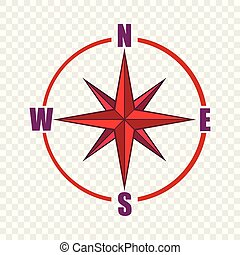 Red compass rose icon, cartoon style