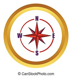 Red compass rose vector icon, cartoon style