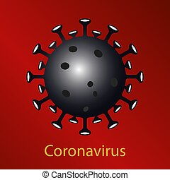 Red composition with a black coronavirus sign. Emblem of ...