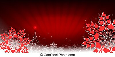 Red composition with rays of light and red snowflakes with edging