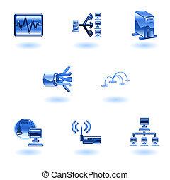red, computadora, conjunto, brillante, icono
