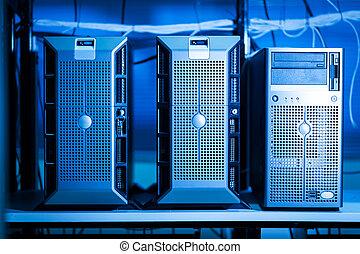 red, computadora, datos, habitación, servidores