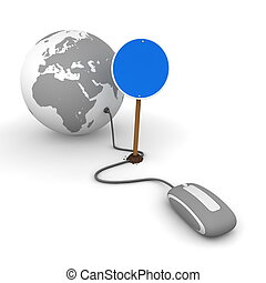 red computer mouse is connected to a grey globe - surfing and browsing is blocked by a blue round mandatory-sign - empty template