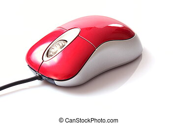 red computer mouse isolated on white background