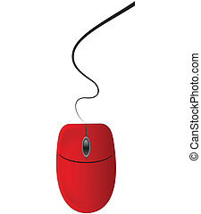 Red computer mouse isolated on white background. Vector...