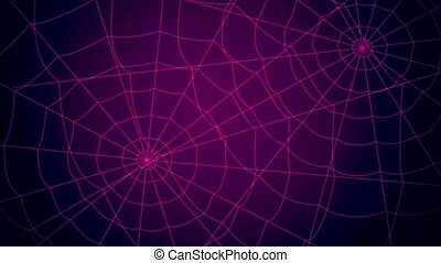 red concentric web on a blue background approaching and...