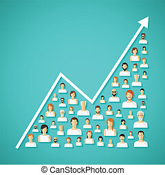red, concept., vector, crecimiento, demography, social, ...