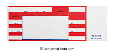 Blank Red Concert Performance Ticket Isolated on White Background.