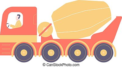 Red concrete mixer with driver.
