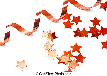 red confetti and ribbon isolated on white