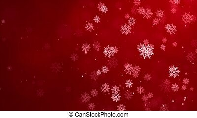 Red confetti snowflakes bokeh lights frame border red Merry Christmas loop background.