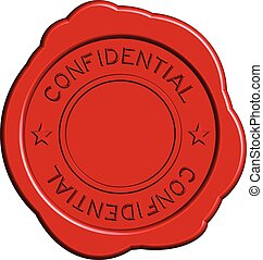 Red confidential round wax seal on white background