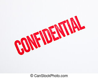 Red confidential stamp on white