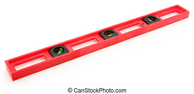 Red Construction Level Tool Isolated on White