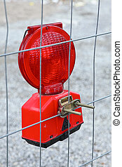Red construction site warning lamp