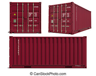 Red Container in 3D Isolated on White.