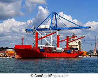 Red Container Vessel 1