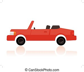 red convertible car, funny cartoon style