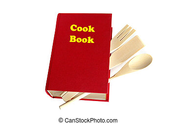 Red cook book isolated on white