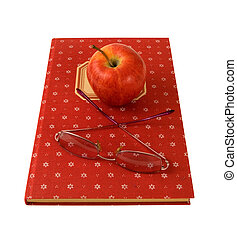 cookbook with apple and glasses