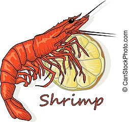 Red cooked prawn or tiger shrimp vector illustration isolated on white background