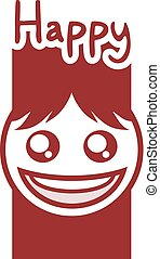 red cool happy face design