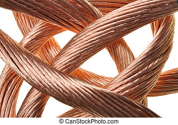 Red copper wire industry isolated on white background
