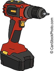 Hand drawing of a red cordless screwdriver