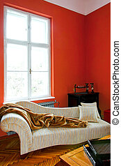 Red corner - Red living room corner with retro sofa