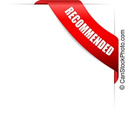 Red corner ribbon with recommended text