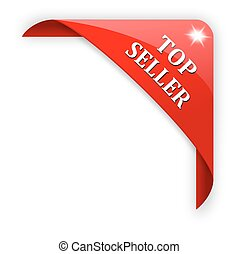Red corner with the sign top seller - illustration