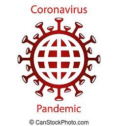 Red coronavirus icon with a globe silhouette. Asian flu ...