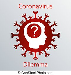 Red coronavirus icon with a human head silhouette and a ...