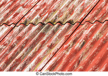 Red corrugated asbestos roof