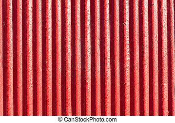 Red corrugated metal sheet background