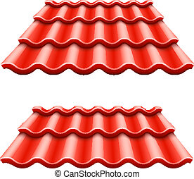 Red corrugated tile element of roof. Eps10 vector...
