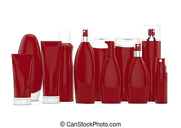 Red cosmetic bottles on white background in two rows