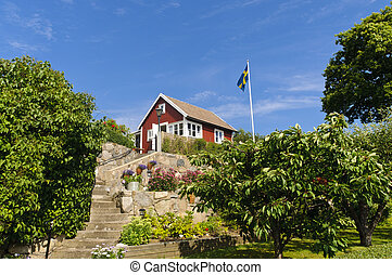 Red cottage in Sweden - Swedish cottages painted in the...