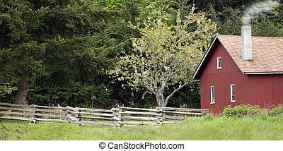 Red cottage with a tree in blossom