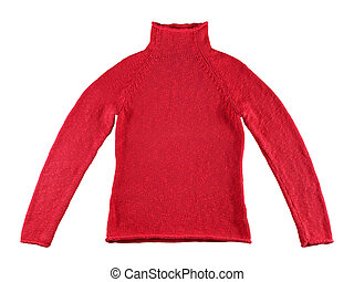 Red cotton sweater isolated on white background