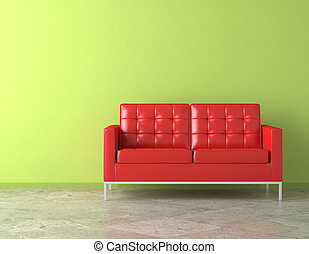 red couch on green wall - interior scene of vivid red couch...