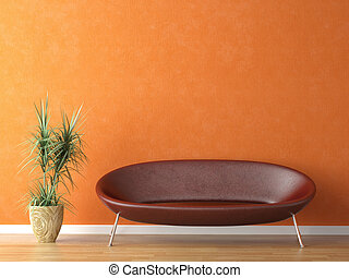 red couch on orange wall - red leather couch and plant on...
