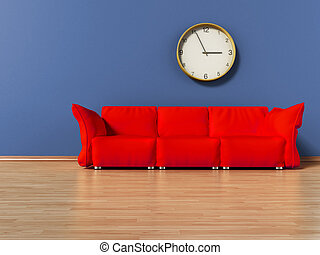Red couch standing on parquet ground. 3D illustration